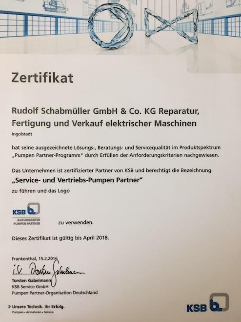 Fa. Rudolf Schabmüller steigt auf zum KSB - Service- und Vertriebs- Pumpen Partner