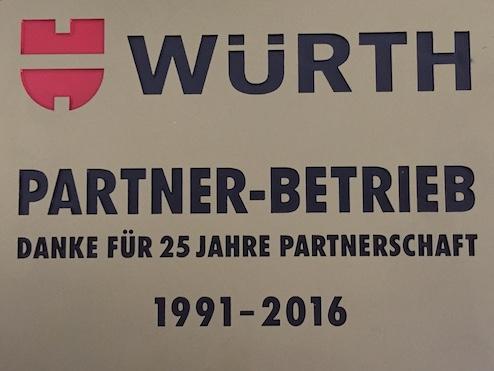 Fa. Rudolf Schabmüller ist 25 Jahre Würth Partner-Betrieb